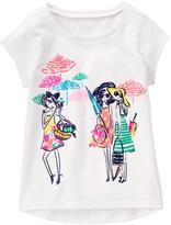 Gymboree White & Green Girlfriends Graphic Tee - Girls