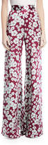 Alexis Nesta High-Waist Wide-Leg Floral-Print Silk Pants