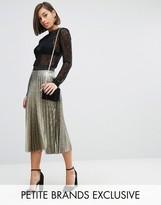 John Zack Petite Pleated Metallic Full Midi Skirt