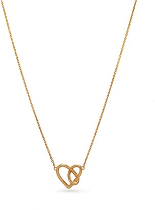 Mulberry Knot Heart Necklace Gold Brass