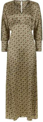 Phoebe Grace Sally V Neck Large Cuff Midaxi Dress in Basket Weave Print