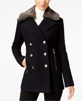 Vince Camuto Faux-Fur-Collar Military Peacoat