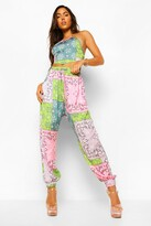 Thumbnail for your product : boohoo Patchwork Paisley Woven Joggers