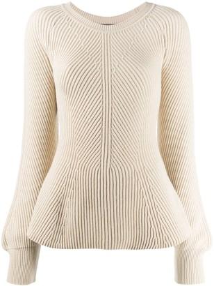 Alberta Ferretti peplum long-sleeve jumper