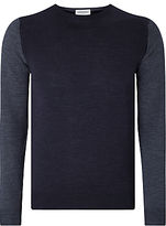 John Smedley Hindlow Contrast Body Crew Neck Jumper, Navy/feather Grey