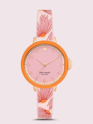 Kate Spade Park Row Pink Floral-Print Silicone Watch