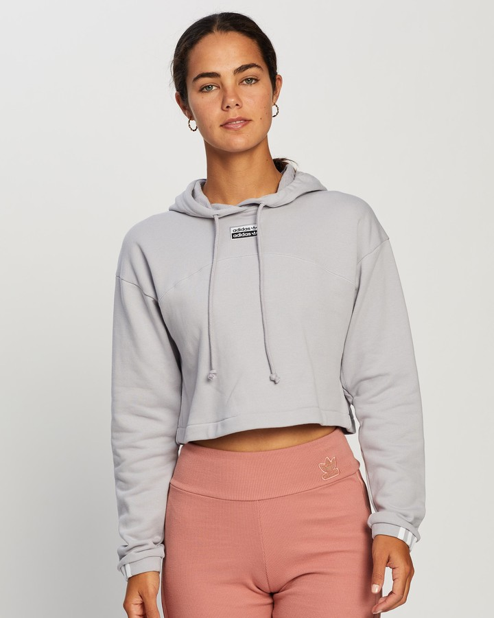 adidas Women's Grey Hoodies - R.Y.V. Cropped Hoodie - Size 14 at The Iconic