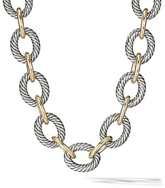 David Yurman Oval Extra-Large Link Necklace with 18K Yellow Gold