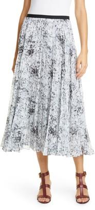 ADAM by Adam Lippes Pleated Floral Print Chiffon Midi Skirt