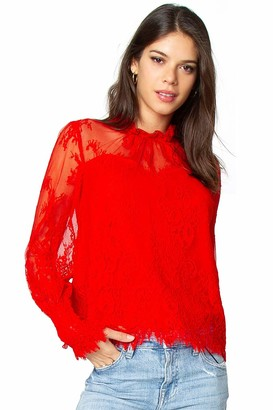 Sugar Lips Sugarlips Women's Long Sleeve All Over LACE Blouse