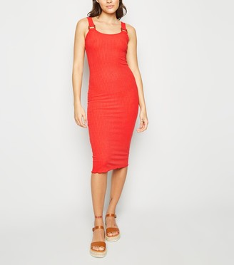 New Look Ribbed Buckle Jersey Midi Dress
