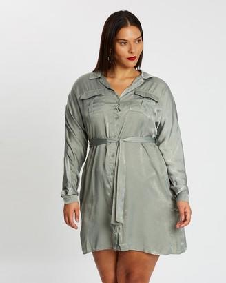 Missguided Curve Satin Shirt Dress
