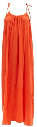 Loup Charmant Maxi Slip Shoulder-tie Organic-cotton Dress - Red