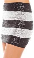 HAOYIHUI Women's Monochrome Stripe Sparkly Sequin Bodycon Mini Skirt(L,)