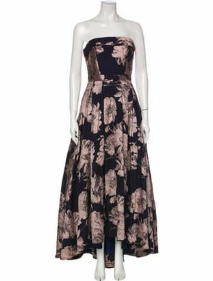 Avery G Floral Print Long Dress Blue