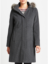 Gerry Weber Hooded Faux Fur Trim Wool Cashmere Coat, Grey Melange