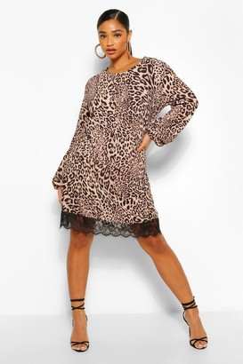 boohoo Leopard Lace Trim Shift Dress
