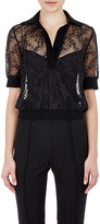 Gabriela Hearst Women's Herringbone Lace Polo Shirt-BLACK