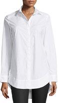 Neiman Marcus Sheri Shirred-Back Blouse, White