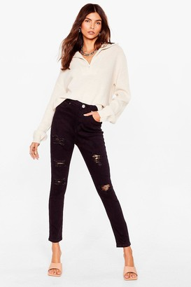 Nasty Gal Womens Rip Into 'Em Distressed Skinny Jeans - Black - 6, Black