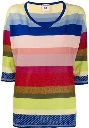 Semi-Couture striped V-neck jumper