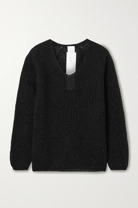 Max Mara Leisure Posato Metallic Ribbed-knit Sweater - Black