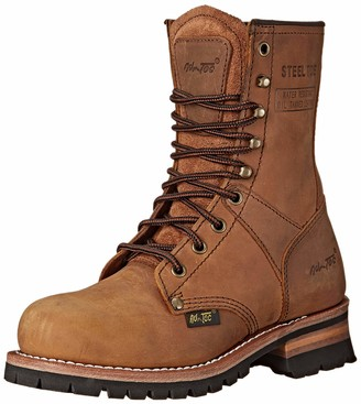 "AdTec Ad Tec Women's 9"" Steel Toe Logger Brown-w Boot Numeric_6_Point_5"