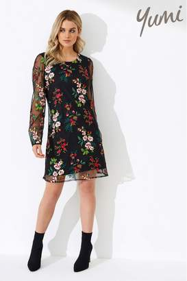Yumi Womens Embroidered Floral Tunic Dress - Black