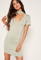 Missguided Choker Neck Short Sleeve Bodycon Dress Green