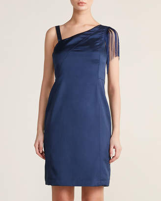 Mariella Rosati One-Shoulder Fringe Sheath Dress