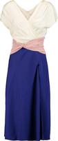 Vionnet Color-block pleated silk-blend dress