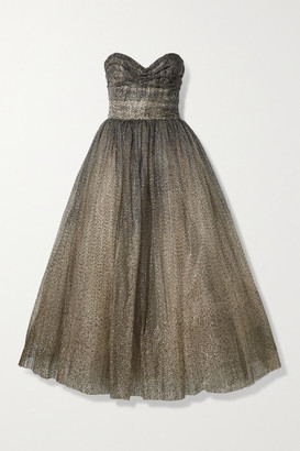 Monique Lhuillier Brie Strapless Glittered Tulle Gown - Gold