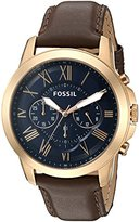 Fossil Men's FS5188SET Grant Chronograph Dark Brown Leather Watch and Wallet Set