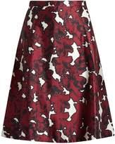 Oscar de la Renta Floral-print silk-mikado skirt