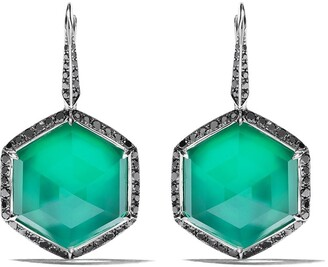 Stephen Webster 18kt white gold No Regrets Deco Haze diamond, agate and quartz drop earrings