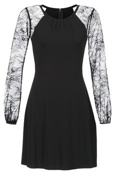 MICHAEL Michael Kors LACE SLV FIT FLR DRS women's Dress in Black