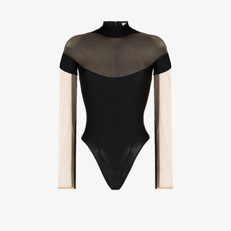 Thierry Mugler Sheer Tulle Panel Bodysuit