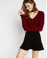 Express plaited marled fitted v-neck sweater