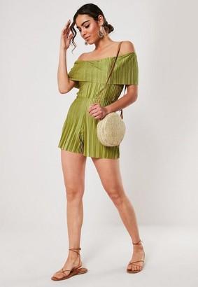 Missguided Green Satin Plisse Bardot Romper
