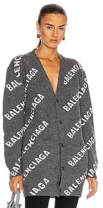 Balenciaga Long Sleeve Logo Cardigan