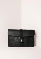 Missguided Harness Clasp Detail Contrast Clutch Bag Black