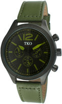JCPenney TKO ORLOGI Mens Green Leather Strap Multifunction-Look Watch