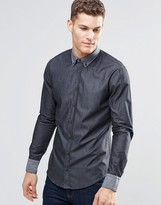 Boss Orange By Hugo Boss Shirt With Button Down In Slim Fit Black
