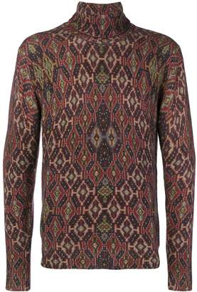 Etro patterned roll neck jumper