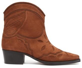 Ganni Texas Suede Cowboy Boots - Womens - Tan