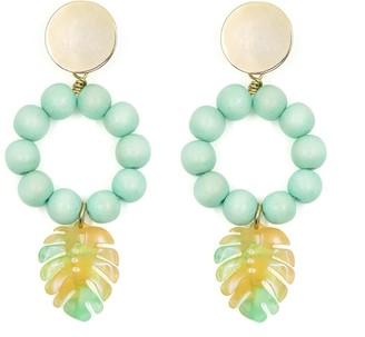 Soli & Sun The Lola Tropical Leaf Turquoise Earrings