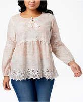 Style&Co. Style & Co Plus Size Cotton Printed Eyelet Peasant Top, Created for Macy's