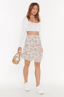 Nasty Gal Womens Frill Need You Floral Mini Skirt - White - 6, White