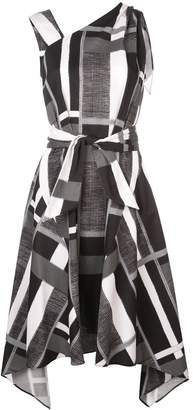 Josie Natori taisho stripe belted dress