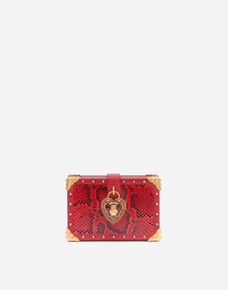 Dolce & Gabbana My Heart Clutch In Python Skin